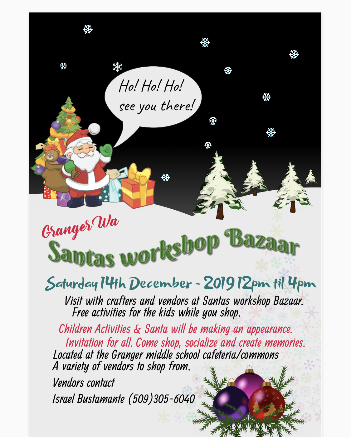 Granger Santa's Workshop Bazaar @ Granger Middle School Cafeteria/Commons